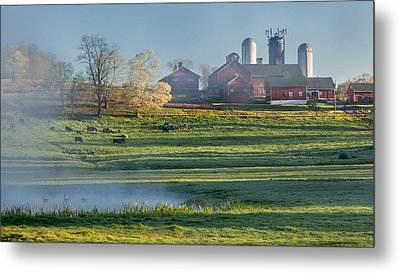 Foggy Farm Morning Metal Print