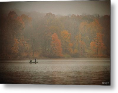 Metal Print featuring the photograph Foggy Fishing by Lorella  Schoales