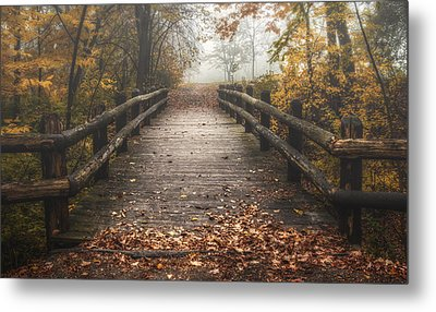 Foggy Lake Park Footbridge Metal Print