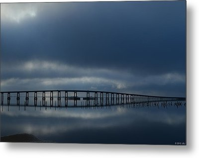 Metal Print featuring the photograph Foggy Mirrored Navarre Bridge At Sunrise by Jeff at JSJ Photography