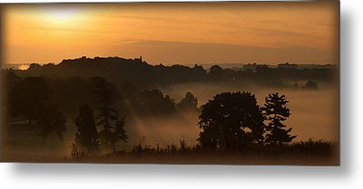 Foggy Morning At Valley Forge Metal Print