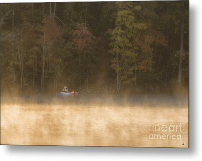 Foggy Morning Kayaking Metal Print