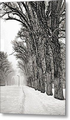 Foggy Morning Landscape - Fractalius 7 Metal Print by Steve Ohlsen