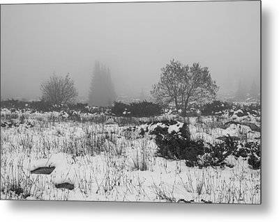 Metal Print featuring the photograph Foggy Morning Mountain Snow by Jivko Nakev
