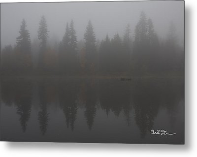 Foggy Morning On The Lake Metal Print