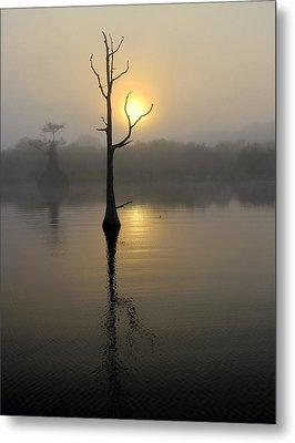 Foggy Morning Sunrise Metal Print