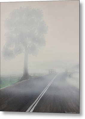Foggy Road Metal Print