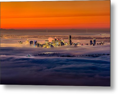 Foggy Sunrise Crop Metal Print