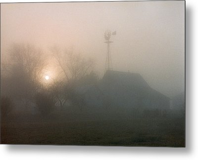 Foggy Sunrise Over Barn Metal Print by Peg Toliver