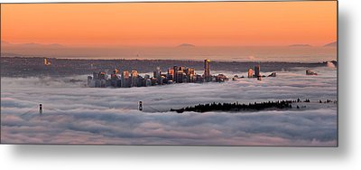 Foggy Sunset Metal Print