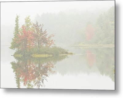 Foggy Weather And Fall Colors On Flying Pond Vienna Maine Metal Print by Keith Webber Jr