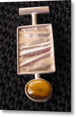 Folded Silver Pendant Metal Print by Patricia  Tierney