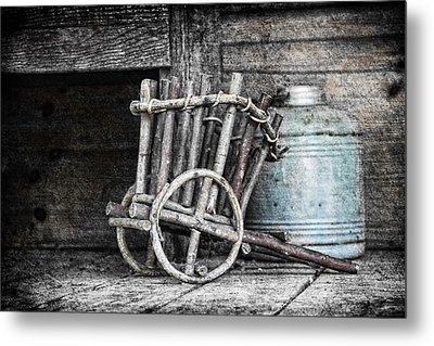 Folk Art Cart Still Life Metal Print
