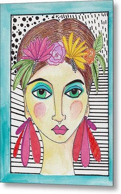 Folk Girl Pattern Metal Print