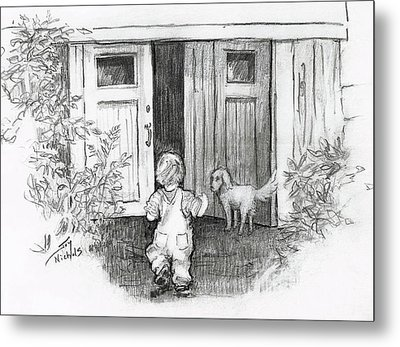 Metal Print featuring the drawing Follow Me by Joy Nichols