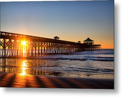 Folly Beach Pier At Sunrise Metal Print