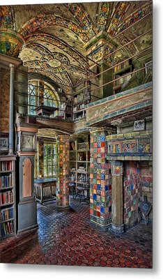 Fonthill Castle Library Room Metal Print by Susan Candelario