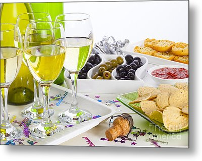 Food And Wine On A Buffet Table Metal Print by Colin and Linda McKie