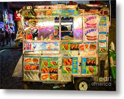Food Cart In New York City Metal Print by Diane Diederich