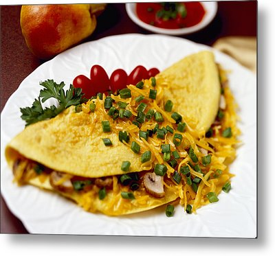 Food - Cheese And Mushroom Omelette Metal Print by Ed Young