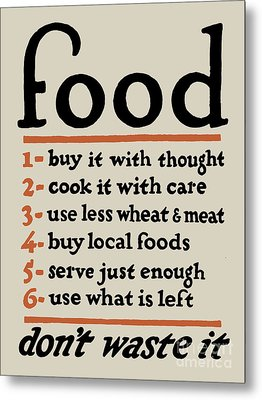 Food - Don't Waste It Metal Print by God and Country Prints