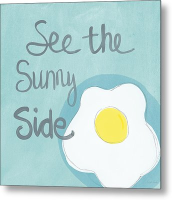 Food- Kitchen Art- Eggs- Sunny Side Up Metal Print by Linda Woods