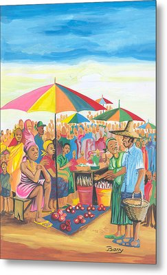 Metal Print featuring the painting Food Market In Cameroon by Emmanuel Baliyanga