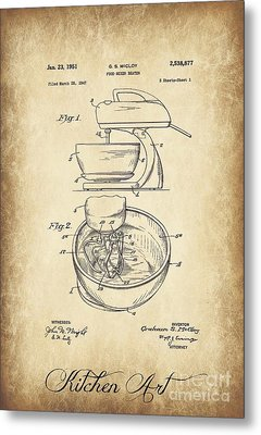 Food Mixer Patent Kitchen Art Metal Print by Clare Bevan