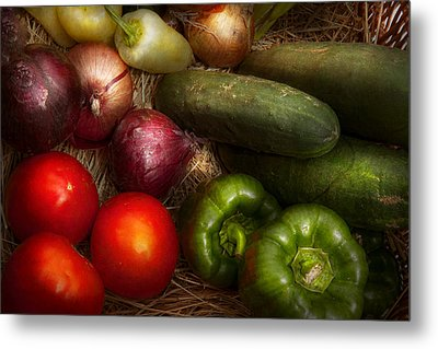 Food - Vegetables - Onions Tomatoes Peppers And Cucumbers Metal Print by Mike Savad