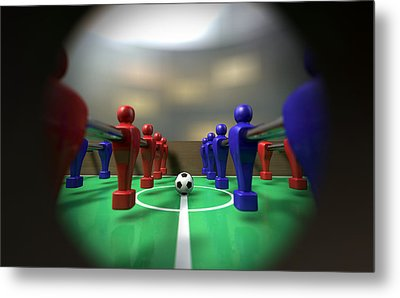 Foosball Table Through A Peephole Metal Print