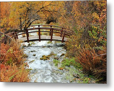 Foot Bridge At Cascade Springs. Metal Print by Johnny Adolphson