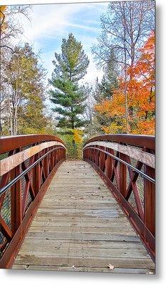 Foot Bridge In Fall Metal Print