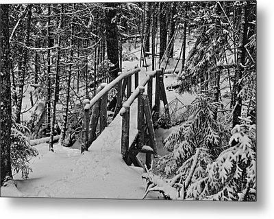 Foot Bridge In Winter Metal Print by David Rucker