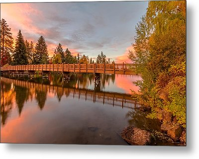 Foot Bridge Over Mirror Pond Metal Print by John Williams