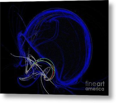 Football Helmet Blue Fractal Art Metal Print by Andee Design