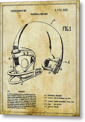 Football Helmet Patent Blueprint Drawing Tan Metal Print