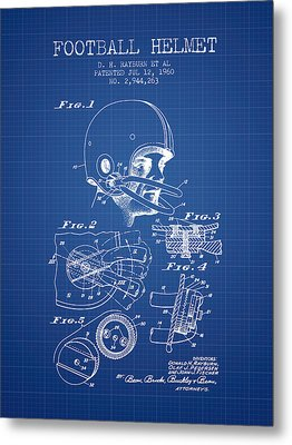 Football Helmet Patent From 1960 - Blueprint Metal Print