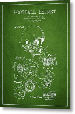 Football Helmet Patent From 1960 - Green Metal Print by Aged Pixel