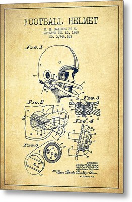 Football Helmet Patent From 1960 - Vintage Metal Print by Aged Pixel