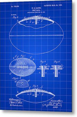 Football Patent 1902 - Blue Metal Print by Stephen Younts
