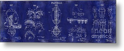 Football Patent History Blue Metal Print