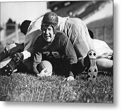 Football Player Gets Tackled Metal Print by Underwood Archives
