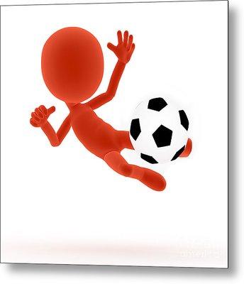 Football Soccer Shooting Jumping Pose Metal Print
