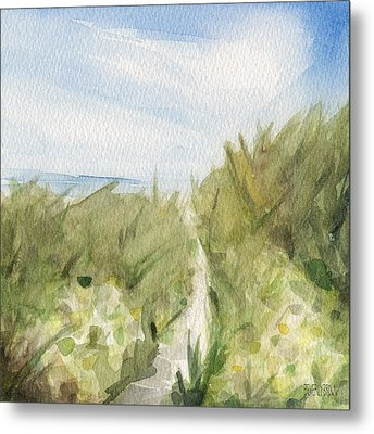 Footpath Through Dunes Cape Cod Beach Painting Metal Print by Beverly Brown