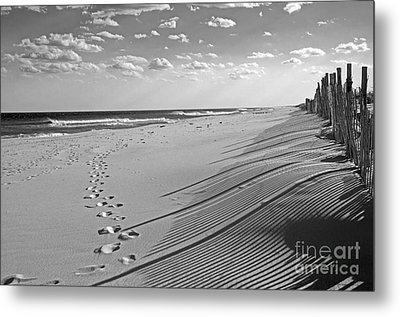 Metal Print featuring the photograph Footprints In The Sand by Debra Fedchin