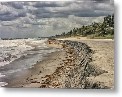 Footprints In The Sand Metal Print by Dennis Baswell