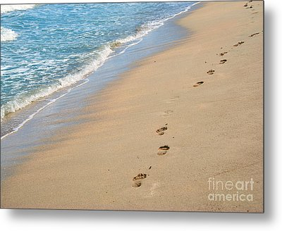 Footprints In The Sand Metal Print by Juli Scalzi