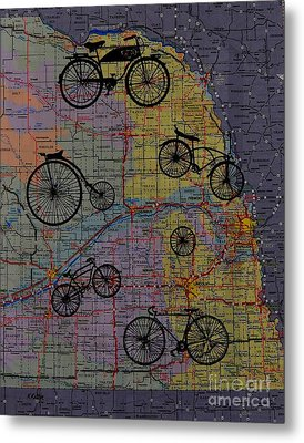 For The Love Of Cycling Metal Print by Kathleen Keller