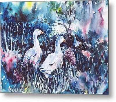 Foraging Ducks  Metal Print by Trudi Doyle