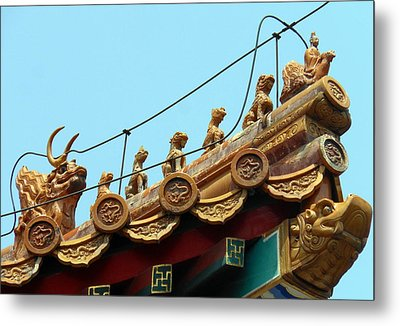 Metal Print featuring the photograph Forbidden City Roof Adornment by Kay Gilley